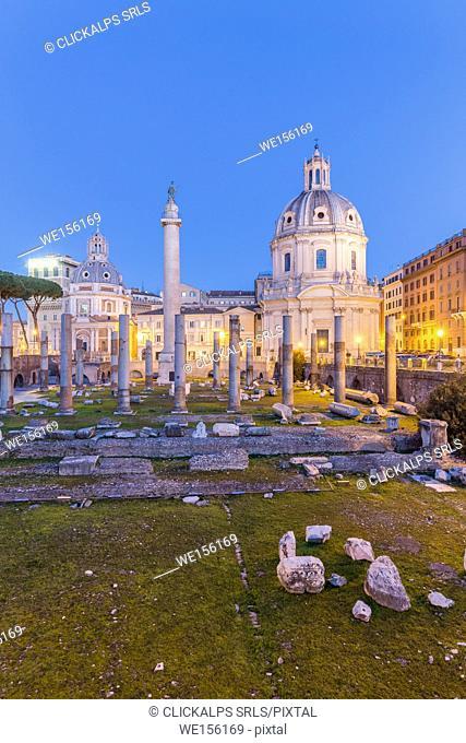 Europe, Italy, Lazio, Rome. Sunrise at Trajan Forum