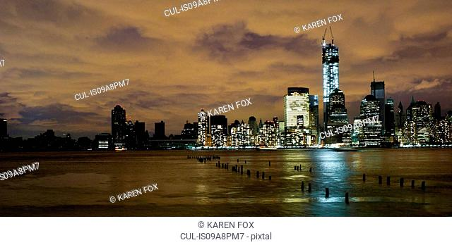 Skyline of Manhattan, power outage after Hurricane Sandy, New York City, USA