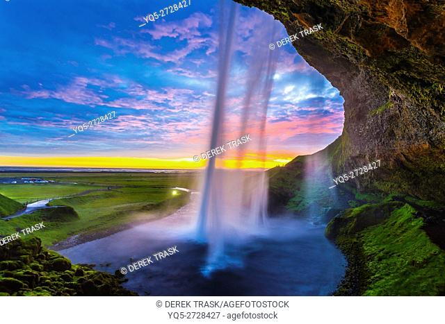 Seljalandsfoss waterfall, midnight sun, Iceland, South West Iceland, Golden Circle tour