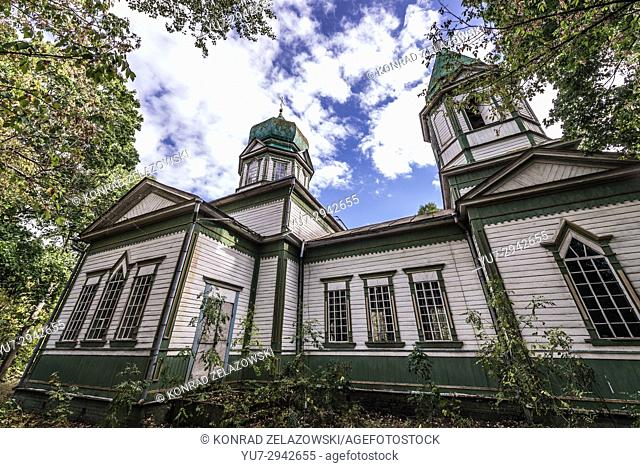 Side view of Orthodox church of Saint Michael in Krasne, one of abandoned villages of Chernobyl Nuclear Power Plant Zone of Alienation in Ukraine