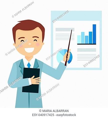 Smiling businessman in a business presentation with statistics. Vector illustration