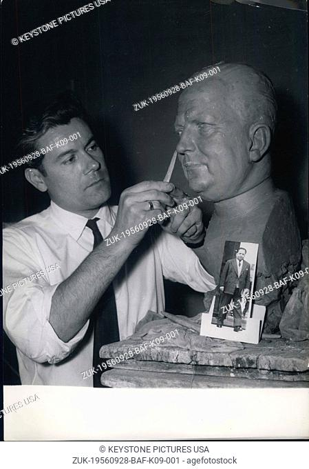 Sep. 28, 1956 - Grevin Waxworks To Have New Figure: Robert Lacoste: Musee Grevin, The famous museum of waxworks in Paris