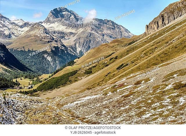 Mountain landscape at the Albula Pass in Grisons, Switzerland
