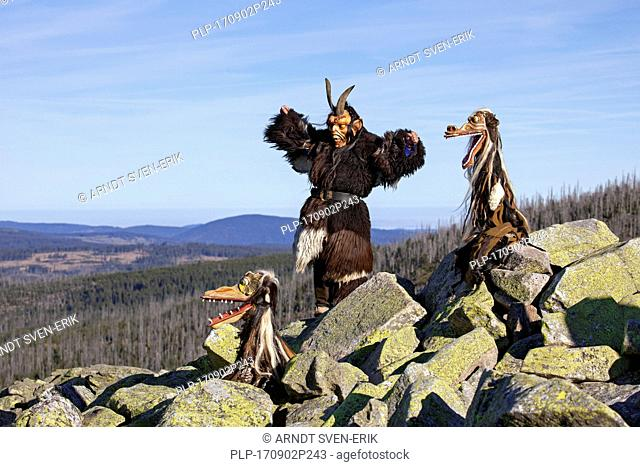 Scary wooden devil sculptures on the summit of Mount Lusen in autumn, Bavarian Forest National Park, Bavaria, Germany