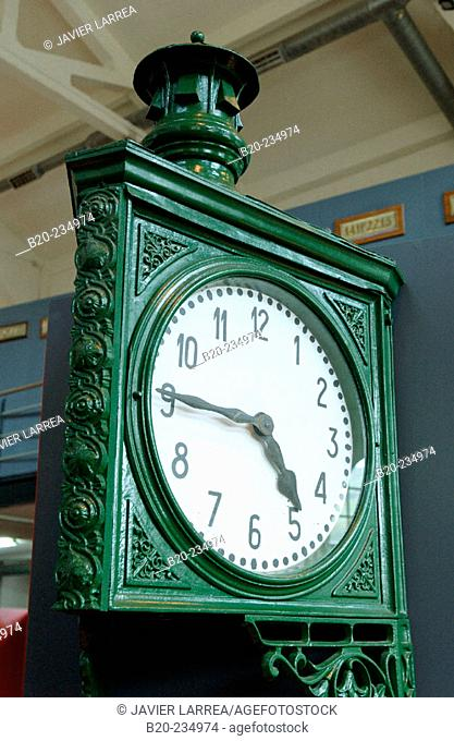 Clock at museum of railway history. Azpeitia. Guipúzcoa, Euskadi. Spain
