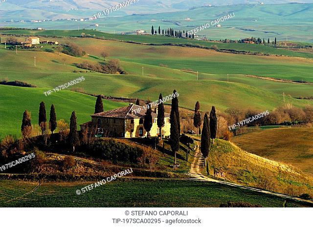Italy, Tuscany,Val d'Orcia, San Quirico