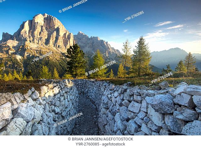 Dawn over Tofana de Rozes from the World War One trenches at Cinque Torri, Dolomite Mountains, Veneto, Italy