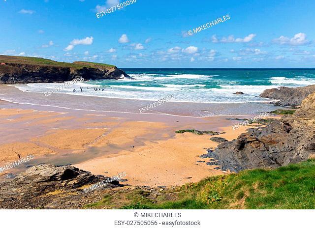 Treyarnon Bay Cornwall England UK Cornish north coast between Newquay and Padstow on a sunny blue sky day