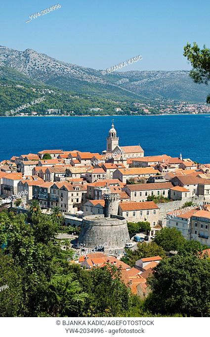 Elevated view of the Old Town, Korcula, Croatia