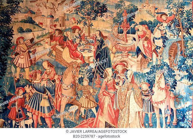 Tenture à l'oiseau. Collationl. Pays-Bas du Sud 1520. Musee du Moyen-Age Middle Ages Museum, the former Hotel de Cluny. Musée de Cluny. Paris. France