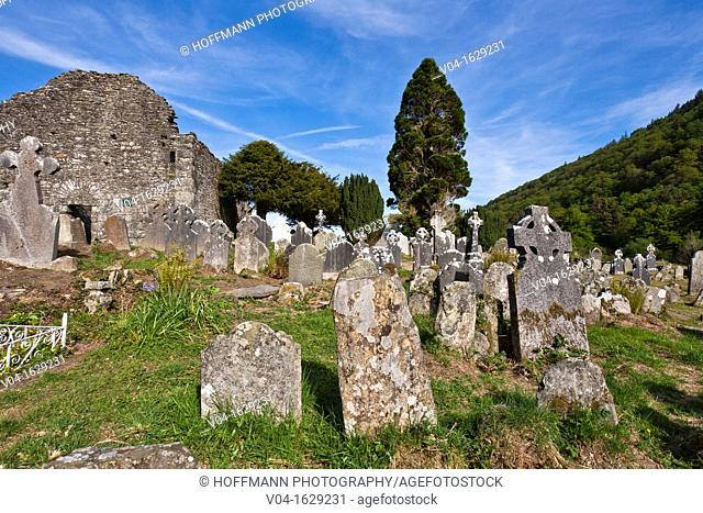 Lots of gravestones at the cemetry of Glendalough, County Wicklow, Ireland, Europe