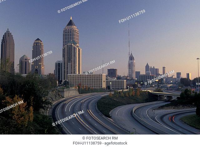 Atlanta, GA, skyline, expressway, Georgia, Skyline of downtown Atlanta and I-75 at sunset