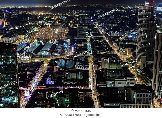 Europe, Germany, Hessen, Frankfurt, area around the main station from above at night