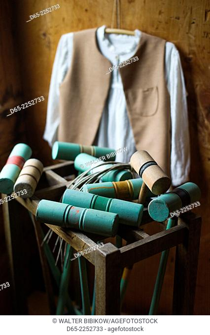 USA, New Hampshire, Canterbury, Canterbury Shaker Village, former Shaker religious community, croquet mallets