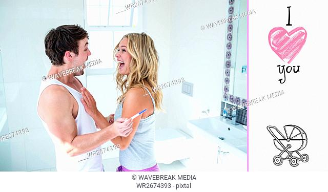 Digital composite image of couple celebrating positive pregnancy test