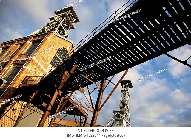 France, Nord, Wallers, mine site of the pit of Arenberg, listed as World Heritage by UNESCO, headframes