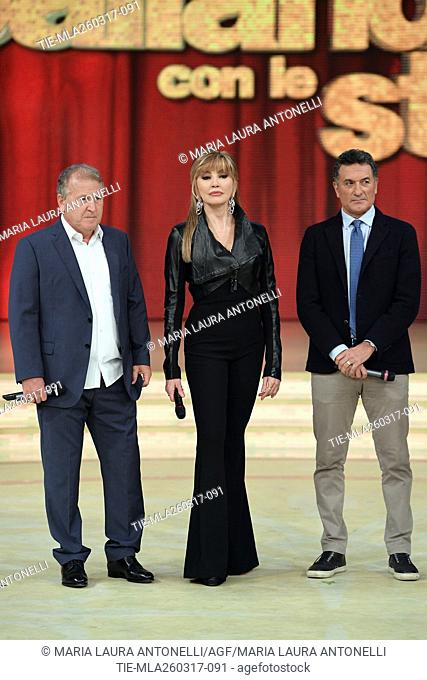 The former football players Arthur Antunes Coimbra ' Zico ', Milly Cralucci and Claudio Gentile during the tv show Ballando con le stelle, Rome, 25-03-2017