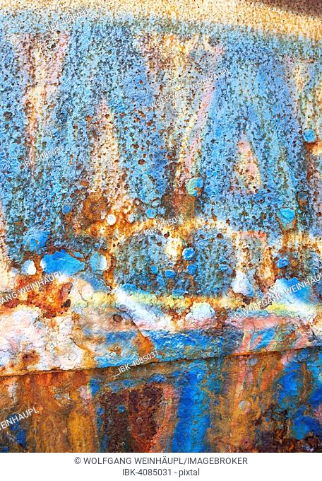 Rusty iron wall of a shipwreck near Gytheio, Peloponnese, Greece