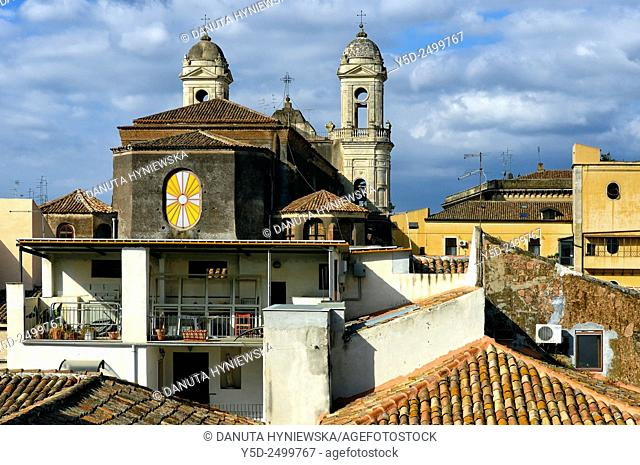 Europe, Italy, Sicily, old town of Catania, San Francesco d'Assisi church, rear facade not seen from any street, here view from high private terrace