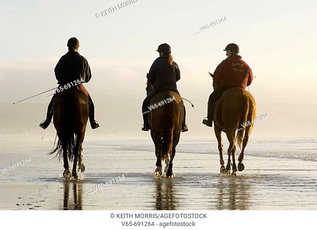 Three people riding horses on Ynyslas beach, Borth, Ceredigion, West Wales, January afternoon