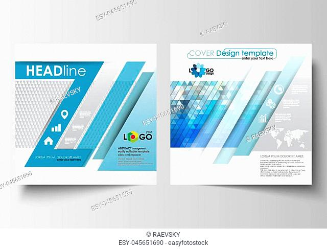 Business templates for square design brochure, magazine, flyer, booklet or annual report. Leaflet cover, abstract flat layout, easy editable blank