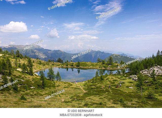 Mountain lake of Salei above the Salei hut, Onsernone valley, district Locarno, Ticino, Switzerland
