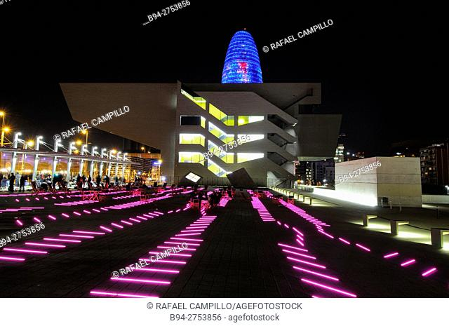 Agbar Tower by Jean Nouvel, 2005, and Disseny Hub Barcelona building, Design Hub of Barcelona, 2014, by Oriol Martorell, Oriol Bohigas and David Mackay at...