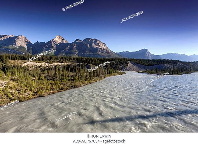 The North Saskatcewan River at Saskatchewan Crossing in Banff National Park, Alberta - this Canadian Heritage River's source is the Saskatchewan Glacier in the...