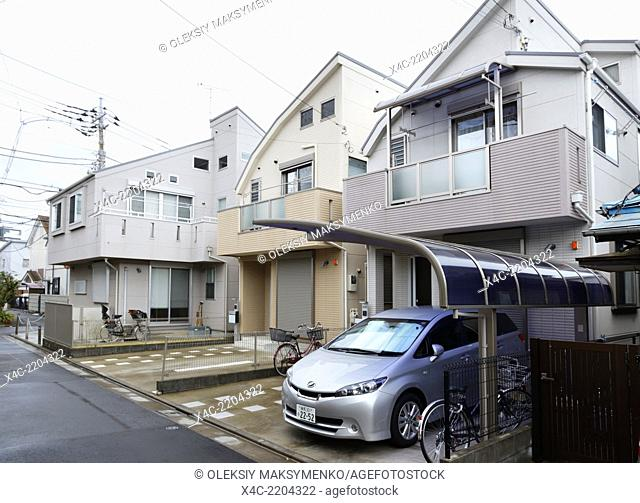 Houses on a residential street in Nakano, Tokyo, Japan