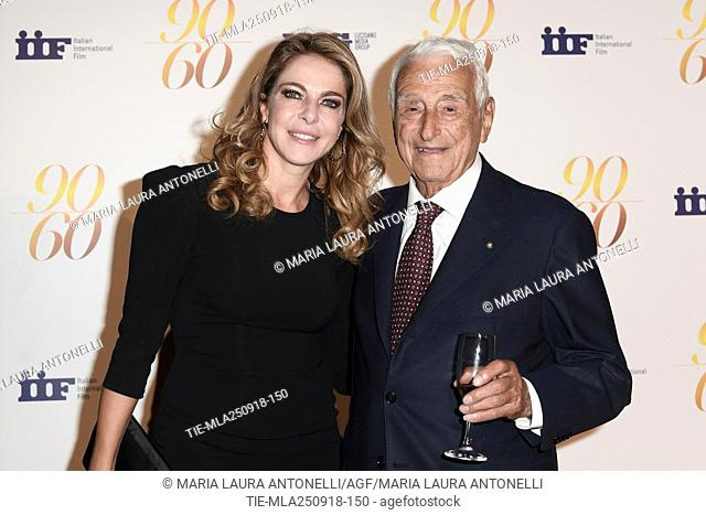 Claudia Gerini, Fulvio Lucisano during red carpet of 60/90 party, for 60 years of career and ninetieth birthday of Fulvio Lucisano, Italian Film Producer