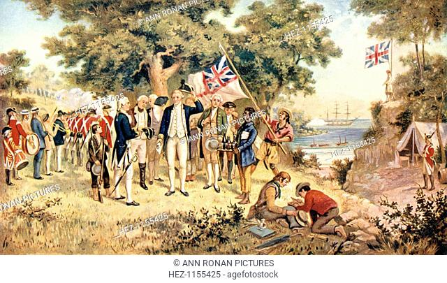 Captain James Cook taking possession of New South Wales in the name of the British Crown, 1770. James Cook (1728-1779), English explorer