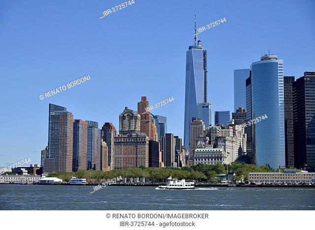 Lower Manhattan skyline with the new World Trade Center, Manhattan, New York City, New York, United States