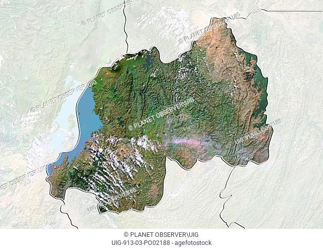 Satellite view of Rwanda with Bump Effect with border and mask. This image was compiled from data acquired by LANDSAT 5 & 7 satellites