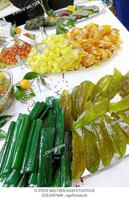 Stacks of Glazed fruit for Christma