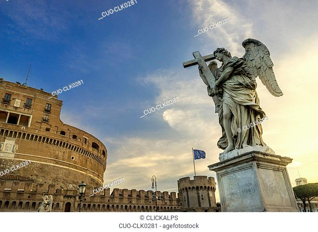 The statue of the Angel with the cross made by Ercole Ferrata, Ponte Sant'Angelo, Rome, Lazio, Italy