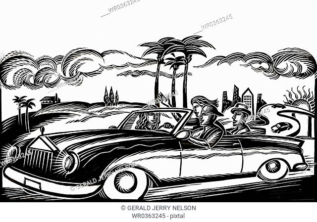 people traveling in convertible