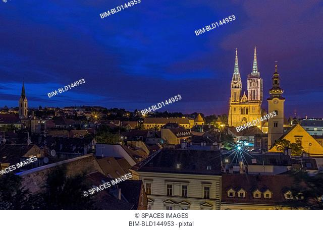 Cathedral spires over rooftops in cityscape, Zagreb, Zagreb, Croatia