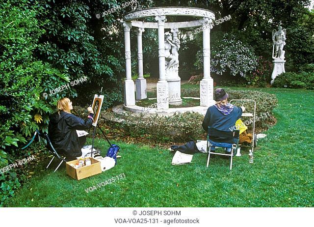 Artists painting Gazebo with statuary, Huntington Library and Gardens, Pasadena
