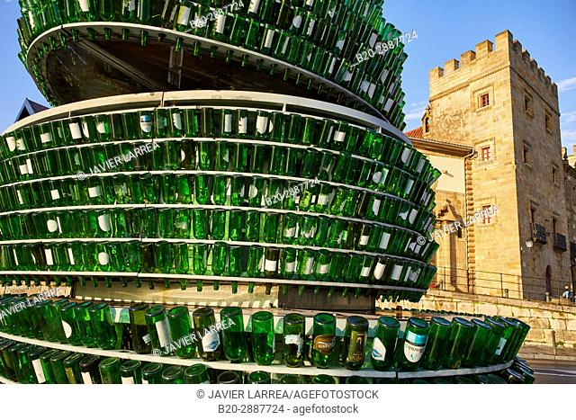Monument to the cider, Colegiata de San Juan Bautista, Revillagigedo Palace, Port, Marina, Gijón, Asturias, Spain, Europe