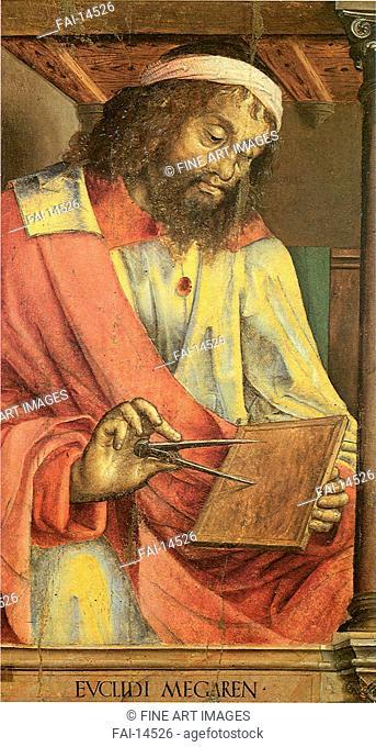 Euclid of Megara. Justus van Gent (Joos van Wassenhove) (ca 1410-ca 1480). Tempera on panel. Renaissance. c. 1473-1475. Galleria nazionale delle Marche, Urbino