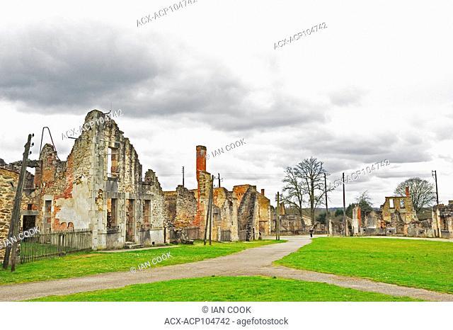 building ruins and empty streets, Oradour-sur-Glane, Haute-Vienne Department, Limousin, France