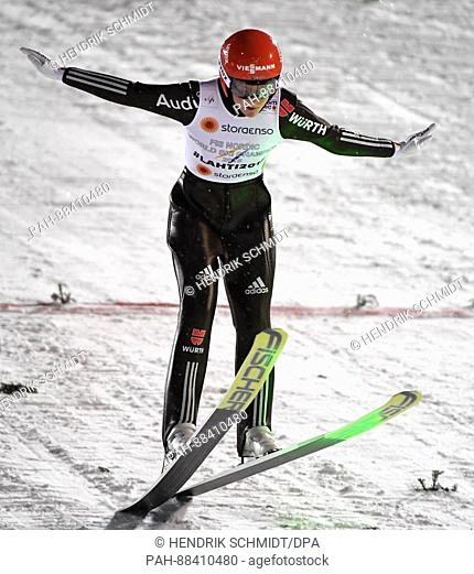 German athlete Carina Vogt completes a jump at the FISNordic World Ski Championships 2017 in Lahti, Finland, 24 February 2017