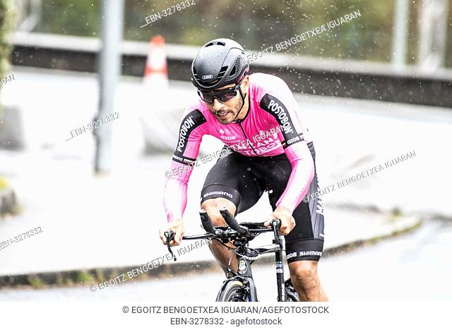 Carlos Julian Quintero Noreña at Zumarraga, at the first stage of Itzulia, Basque Country Tour. Cycling Time Trial race