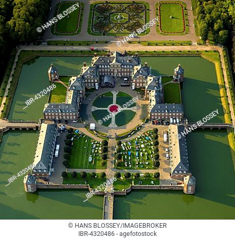 Aerial view, moated castle, baroque palace and garden, classical open-air event Night of ten thousand candles, Nordkirchen, Münsterland, North Rhine-Westphalia
