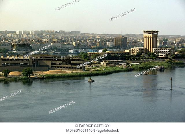 The Elephantine Island with the tower of the Aswan Oberoi Hotel and in the background the buildings of the town