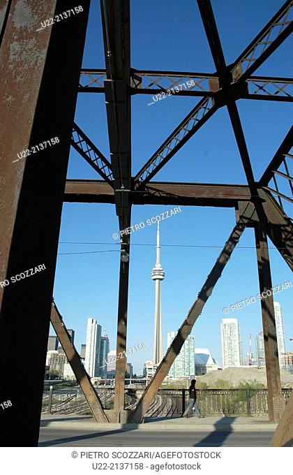 Toronto Canada: bridge and road with the CN Tower on the background