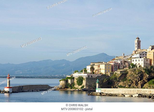Bastia harbour lighthouse church skyline port
