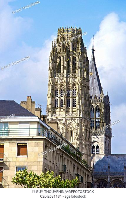 Butter tower and Saint Romain tower, Notre Dame cathedral, Rouen, 76, Normandy, France