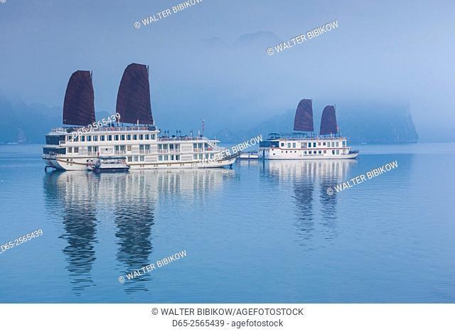 Vietnam, Halong Bay, tourist boats, dawn