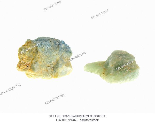 Chalcedony, precious stone on white background, studio isolated photo